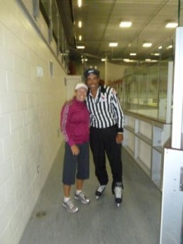 Hal-about-to-referee-a-hockey-game-Jo-beside-ice-260x346